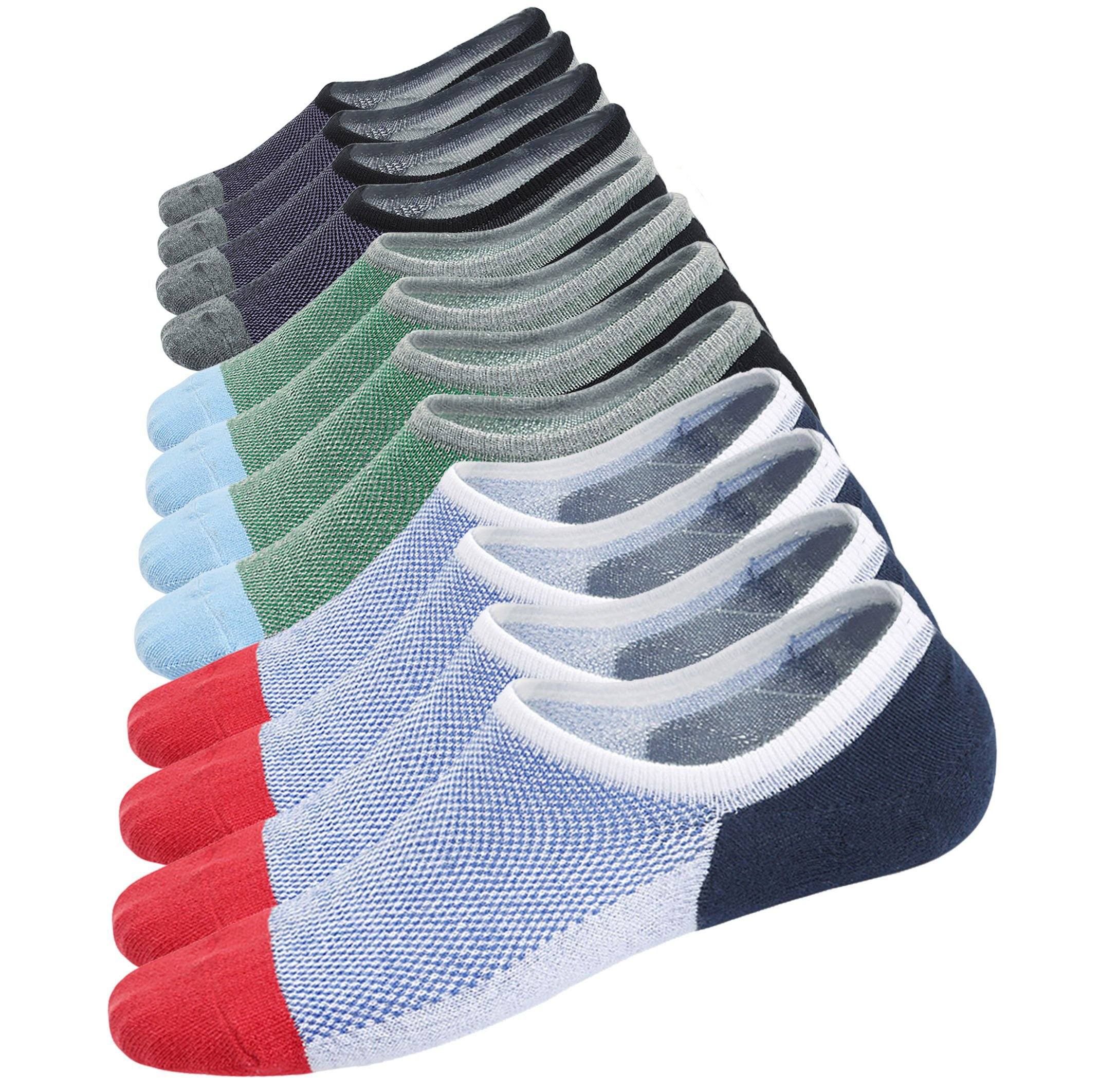 Spikerking Men No Show Cotton Deodorant Anti Off 3 Pack Crew Socks (Size:6-11) (US Shoe Size 6-11, 6 Pairs(2gray2red2skyblue)