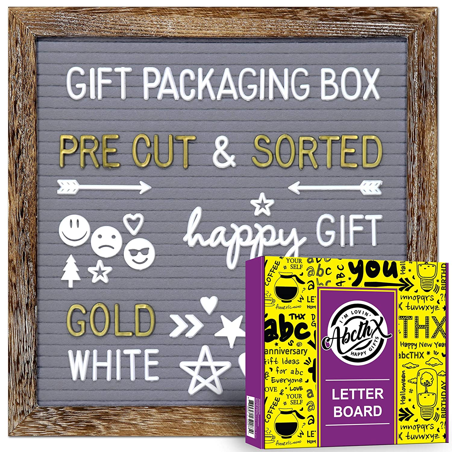 B07W1FLXN1 Rustic Wood Frame Gray Felt Letter Board 10x10 inches with Letters| Pre Cut & Sorted | Gold & White Characters, Months & Days Cursive Word, Symbols & Emojis | Gift Box+ Stand+Sorting Tray +Wall Mount 91jg7oRaP7L