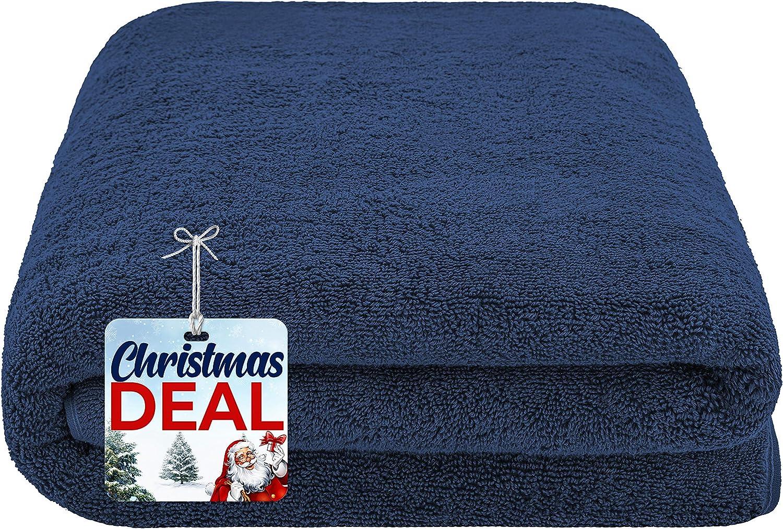 American Soft Linen 40x80 Inches Premium, Soft & Luxury 100% Ringspun Genuine Cotton 650 GSM Extra Large Jumbo Turkish Bath Towel for Maximum Softness & Absorbent [Worth $64.99] Navy Blue
