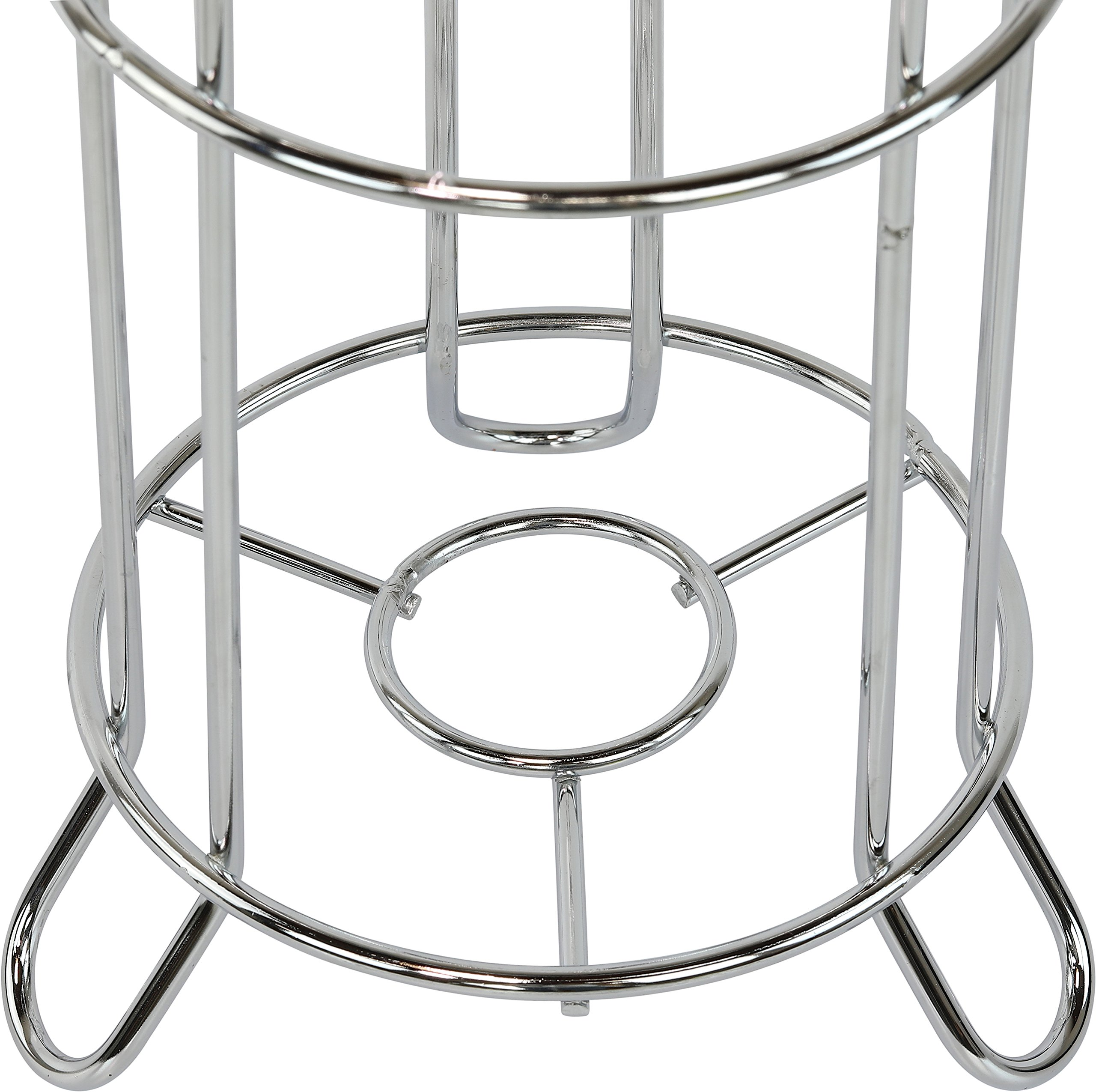 Simple Houseware Bathroom Toilet Tissue Paper Roll Storage Holder Stand, Chrome Finish 4 Free-Standing Design for any bathroom Holds 3 rolls of toilet tissue and dispenses 1. Never be without toilet paper again. Sturdy construction with elegant chrome finish