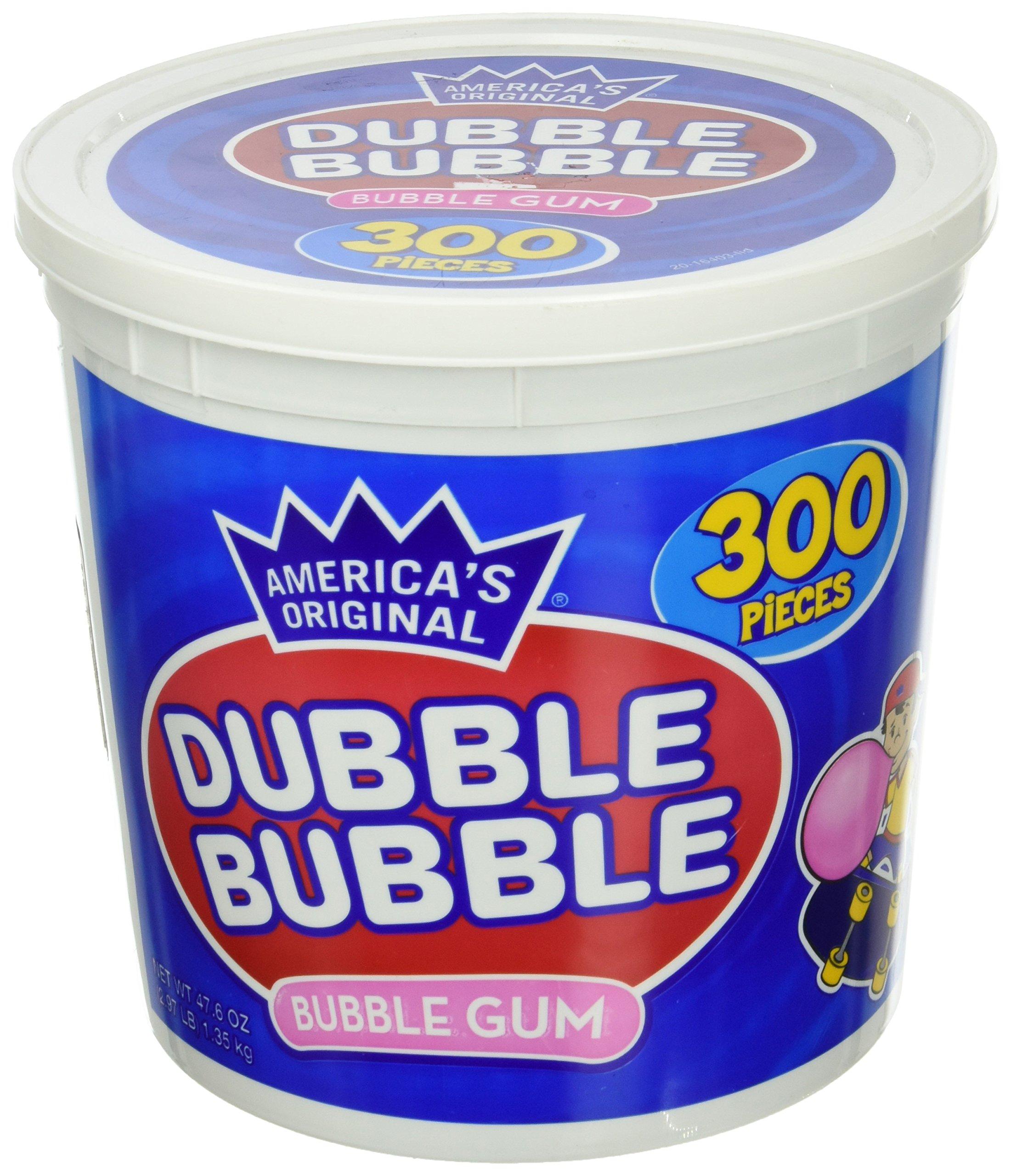 America's Original Dubble Bubble Bubble Gum 47.6 Ounce Value Tub 300 Individually Wrapped Pieces