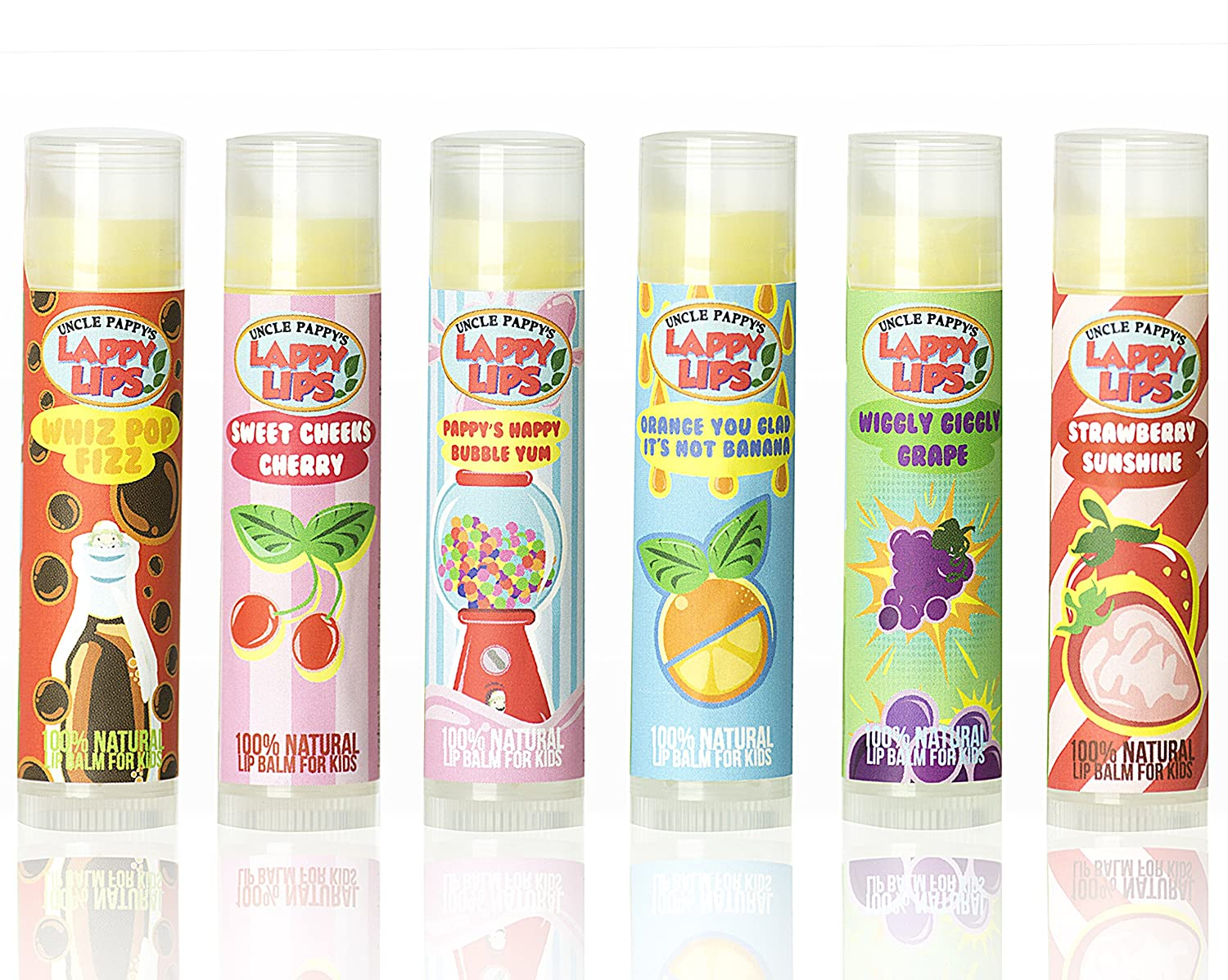 Lappy Lips 100% Natural, Organic Lip Balm Chap stick with free Lappy Lips sticker for Kids, Toddlers and Even Boys (All flavors)