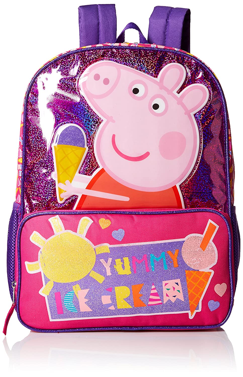 free shipping Peppa Pig Girls' Ice Cream Front Zipper Pocket 16 Inch Backpack, Pink