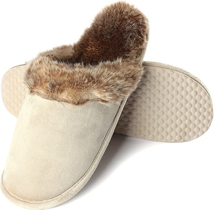 Mens Touch Strap Padded Memory Foam Slippers Bedroom Indoor House Outdoor Size