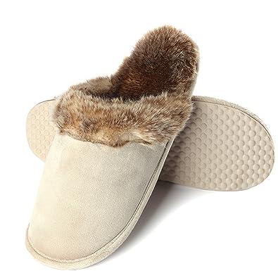 4c28b07048bd Womens Indoor Slippers Women Winter Plush Slipper Size 8 Beige Comfortable  Suede Nap Fabric Warm Anti