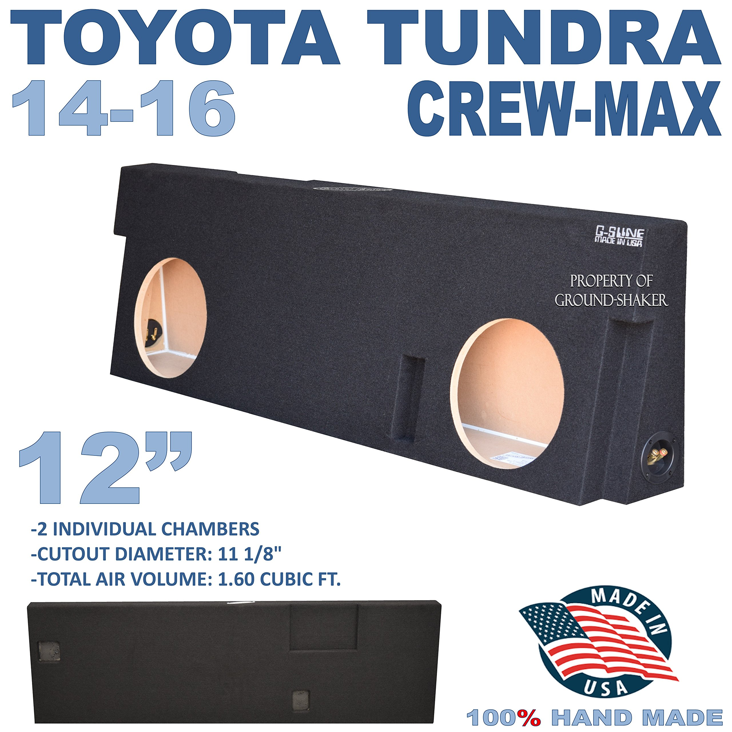 14-16 TOYOTA TUNDRA CREWMAX 12'' DUAL SUBWOOFER SUB ENCLOSURE BOX GROUND-SHAKER