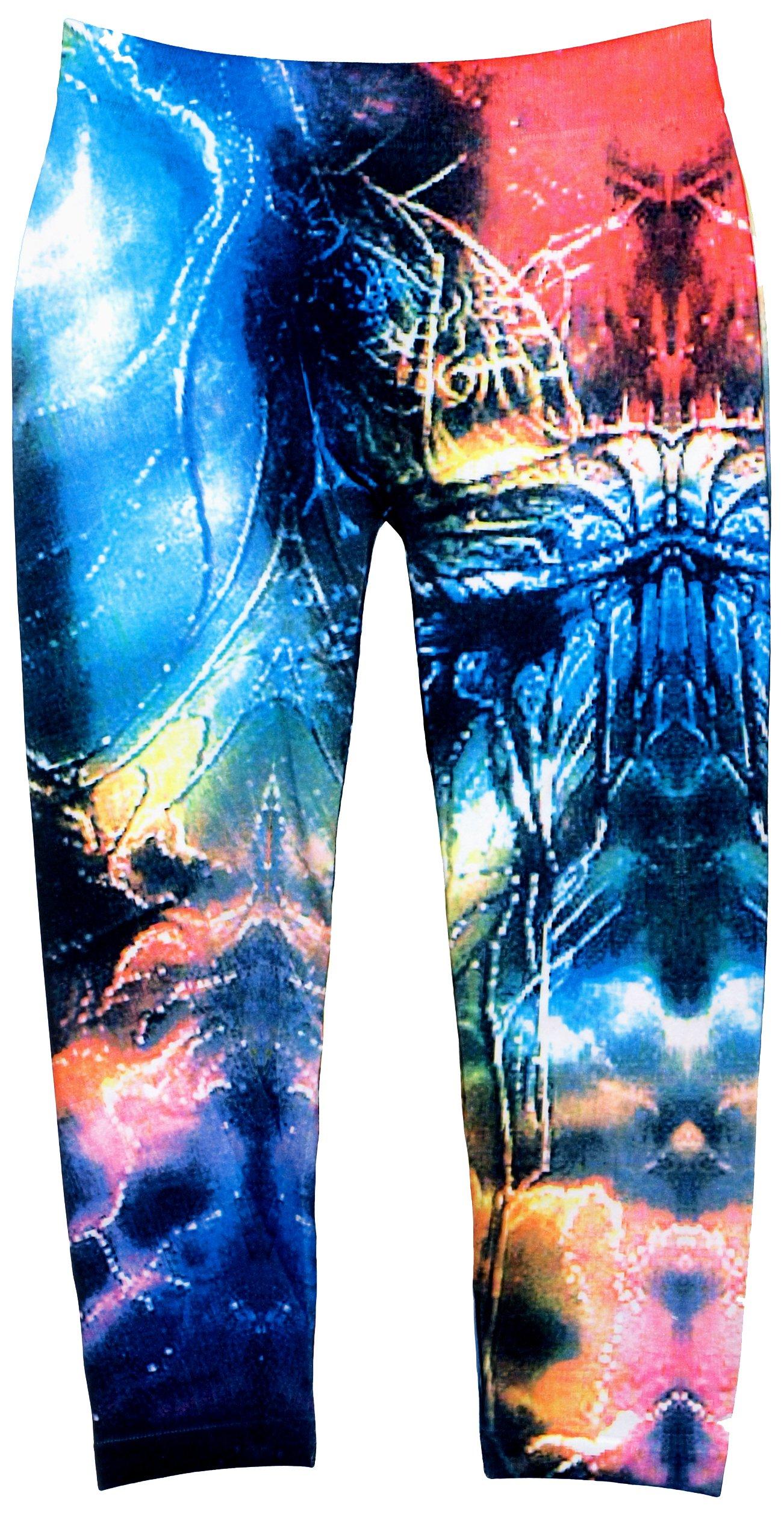 Crush Galaxy Girls Toddler & Youth Printed Leggings in Blue Black (2T-4T, Black-Blue)