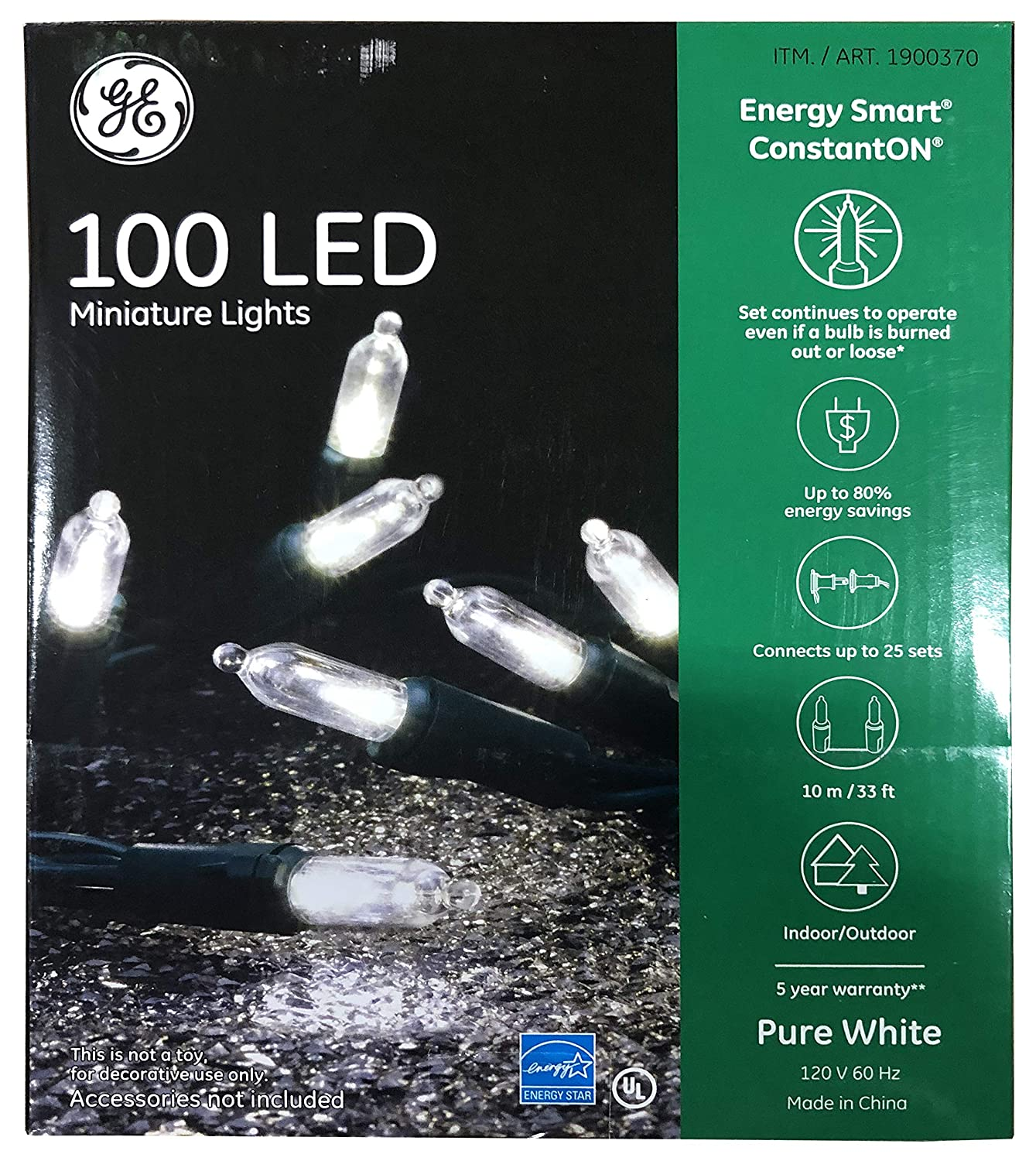 GE Energy Smart Colorite Miniature LED 100-Light Set Holiday, Party, Christmas - Pure White