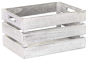 LAUBLUST Caja de Madera Vintage, Asas, Aprox. 35 x 25 x 20 cm, Color Blanco, FSC® - Caja de Almacenamiento para Muebles: Amazon.es: Hogar