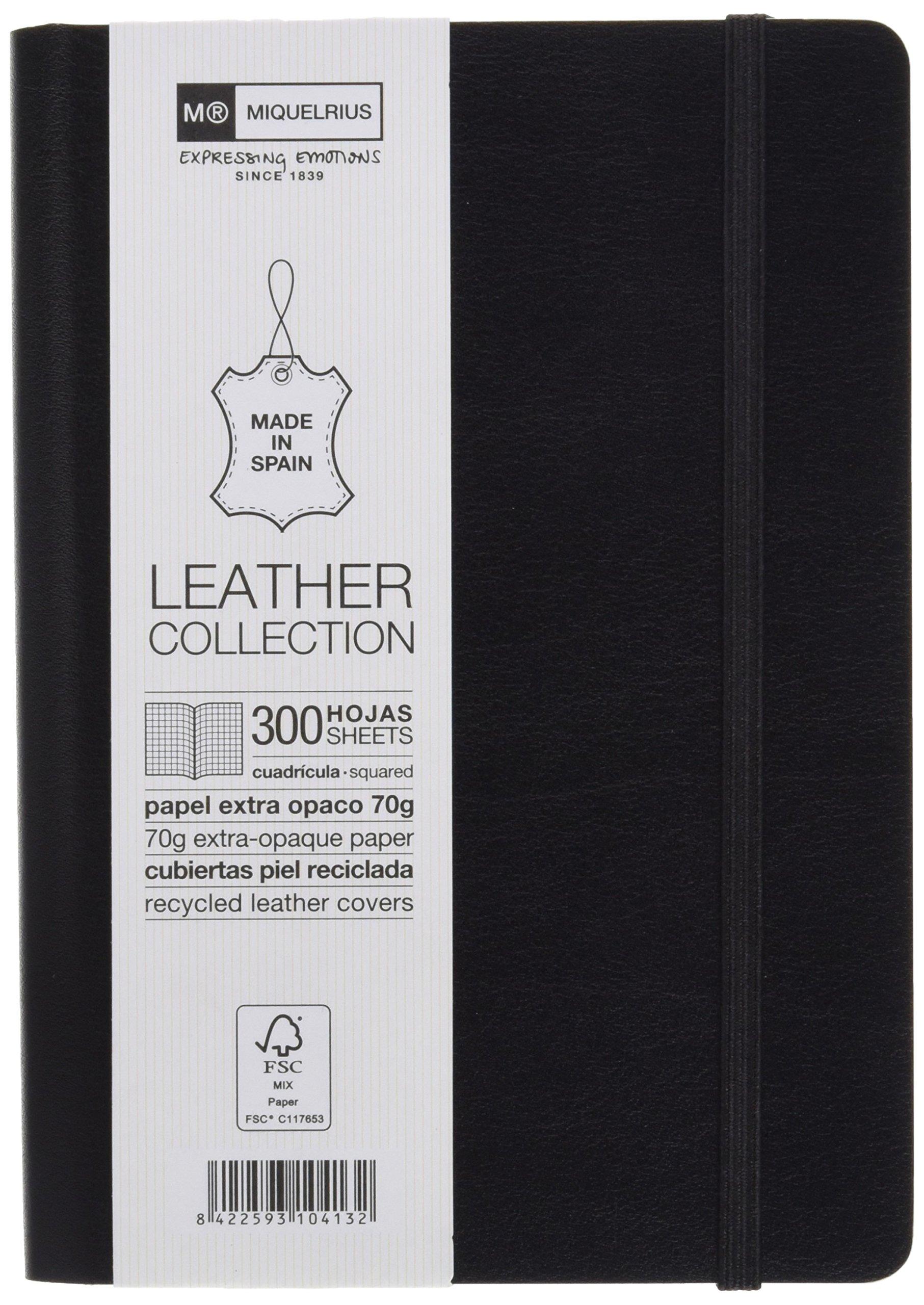 Miquelrius Flexible Handmade Leather Journal, 300 Graph Sheets/600 Pages, Black (4.5 x 6) (Black)
