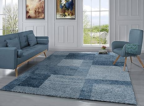 Amazoncom Modern Living Room Area Rug with Geometric Square