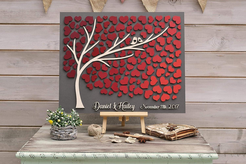 3D wedding guestbook alternative albero legno personalizzato unico libro degli ospiti cuori bordeaux autunno libro degli ospiti matrimonio rustico in legno di albero della vita Gift 50x60cm 20x24