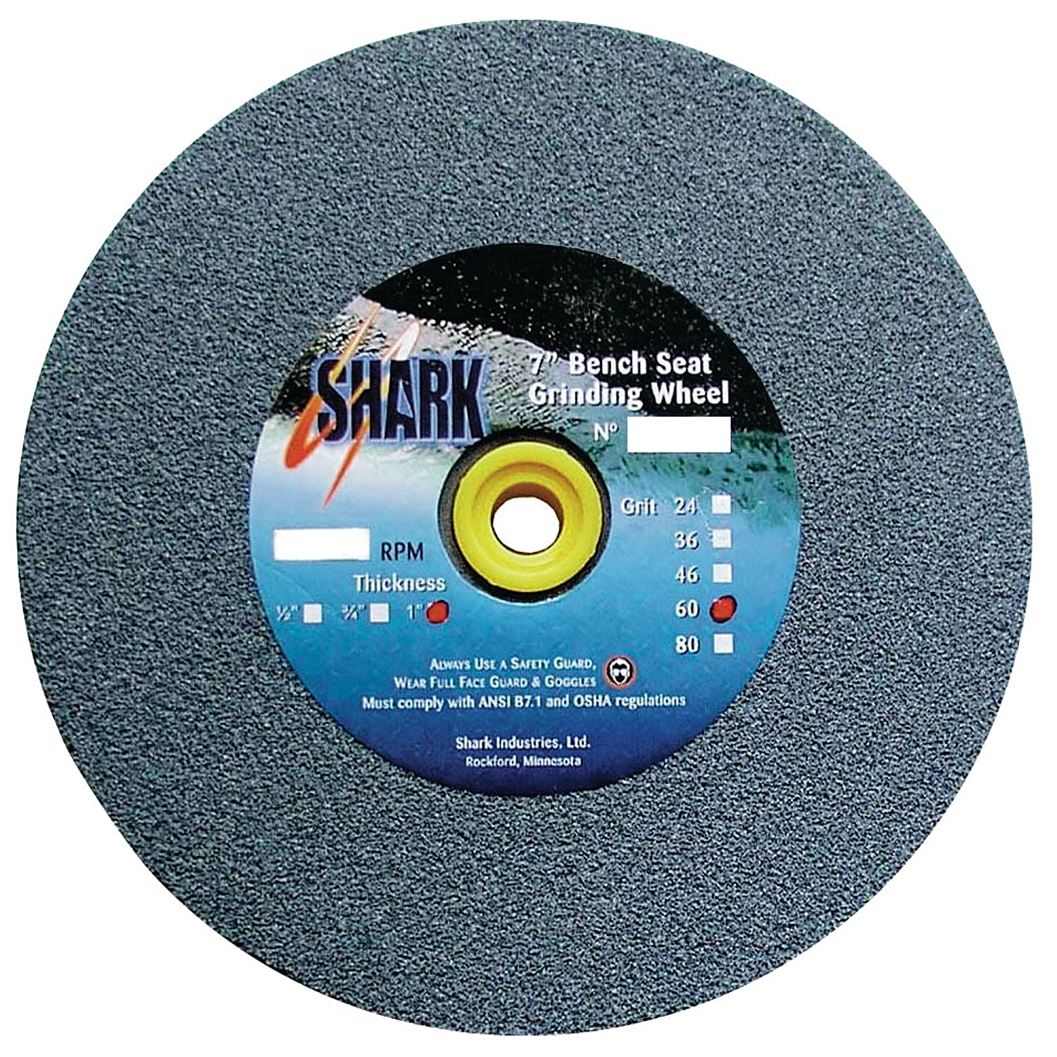 Shark 2039    12-Inch by 2-Inch by 1.25-Inch Bench Seat Grinding Wheel with Grit-36