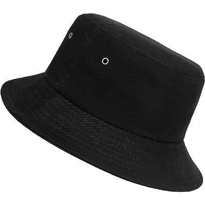 ISIYINER Sombrero del Pescador Algodón Plegable Bucket Hat Unisex Al Aire Libre Negro