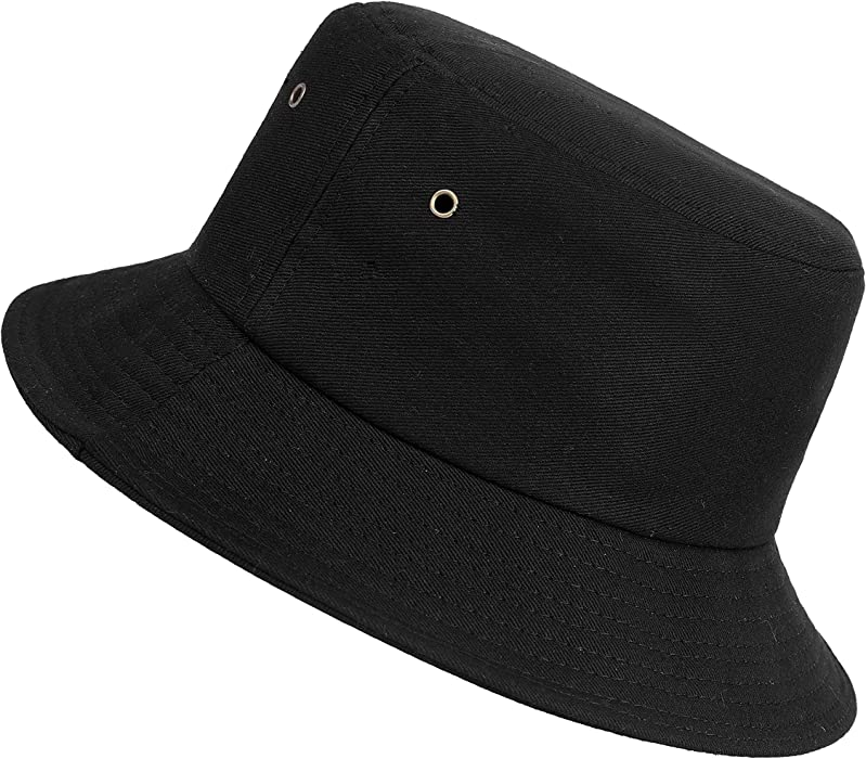 Bucket Hat Unisex Cotton Sun Cap Reversible Fishing Fisherman Hat Foldable  Black  Amazon.co.uk  Clothing 0125462c1a5