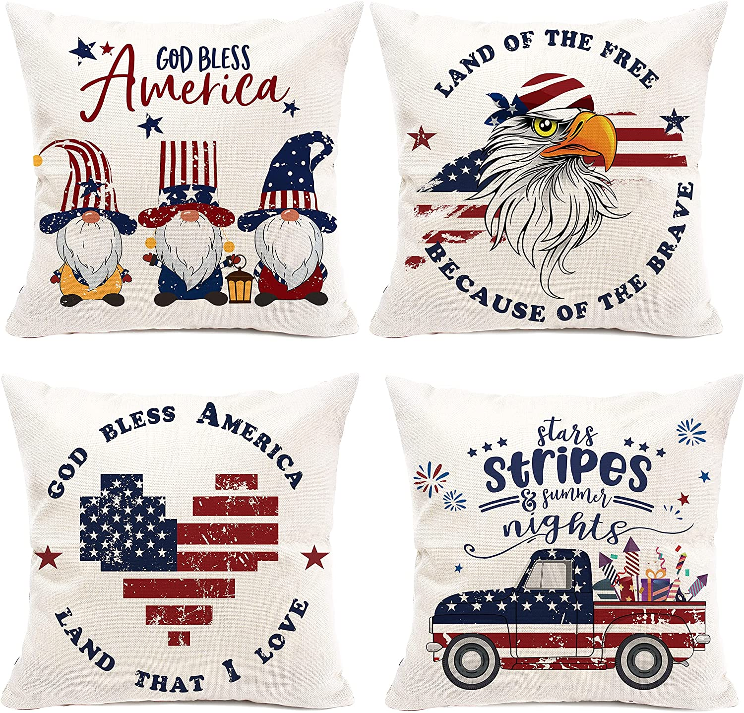 pinata 4th of July Pillow Cover 18x18'' Summer Patriotic Independence Day Pillowcase Set of 4, American Flag Rustic Retro Red Blue Outdoor Decor with Gnome, Eagle, Heart, Truck, Star for Home Holiday