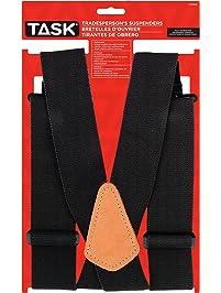 Task Tools T77414 Full Elastic Tradesperson's Suspenders, Black