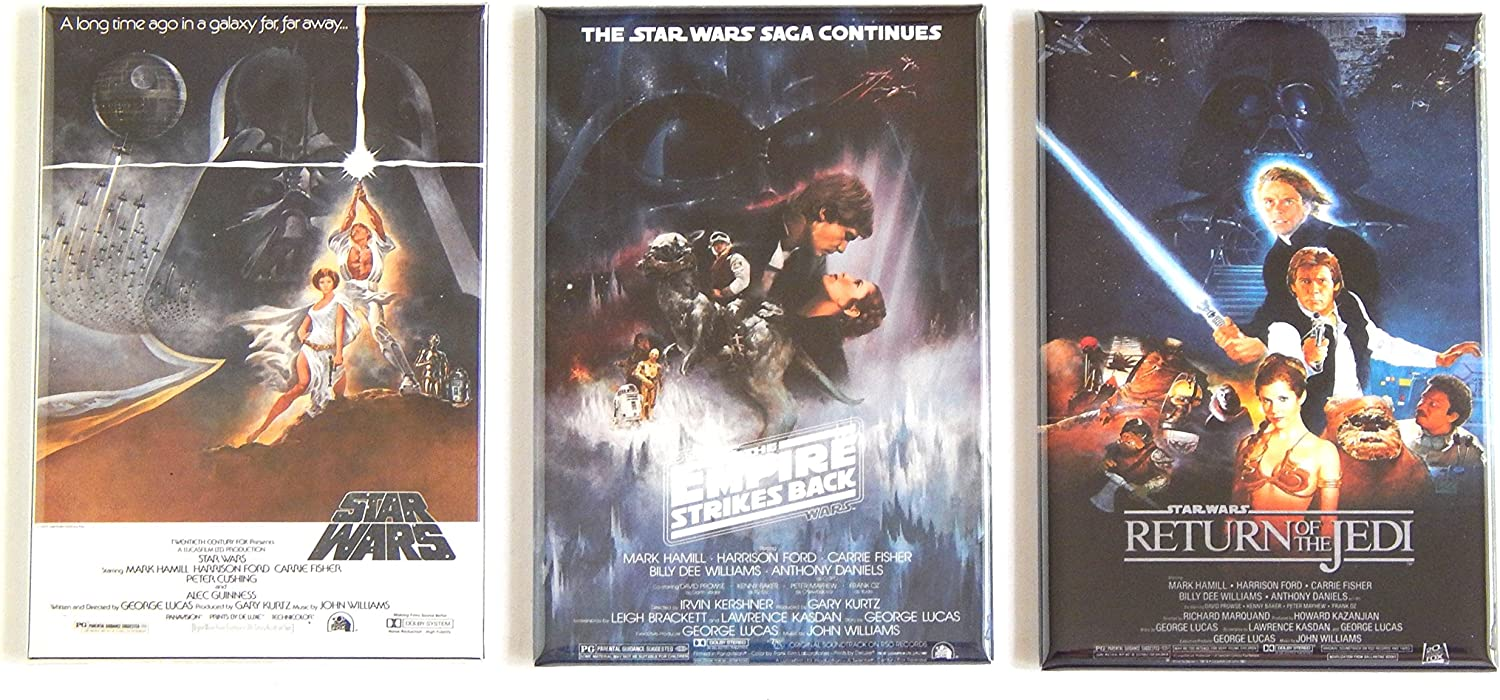 Star Wars Trilogy Movie Poster Fridge Magnet Set (2 x 3 inches each)