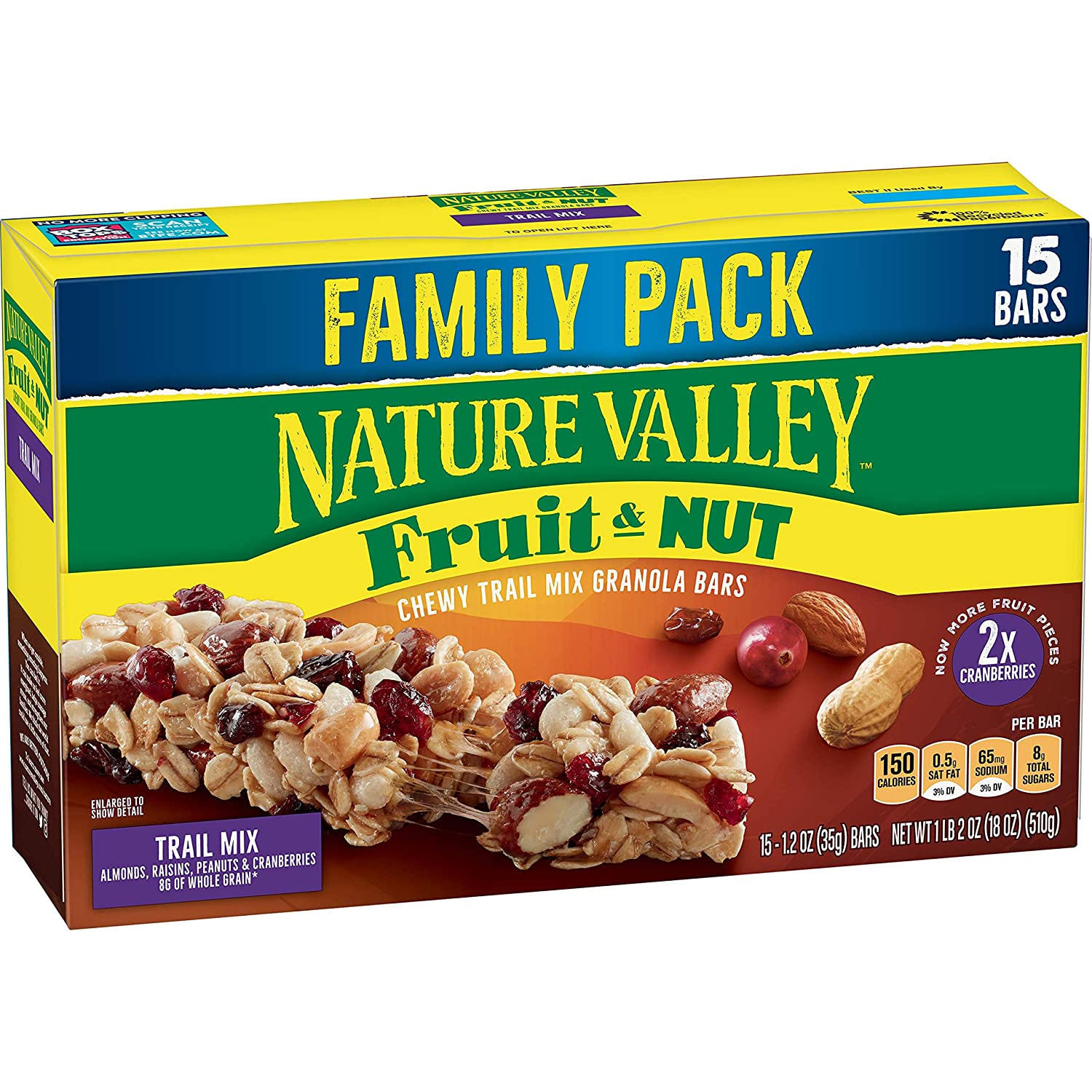 Nature Valley Granola Bars, Fruit & Nut, Chewy Trail Mix Granola Bars, 15 count