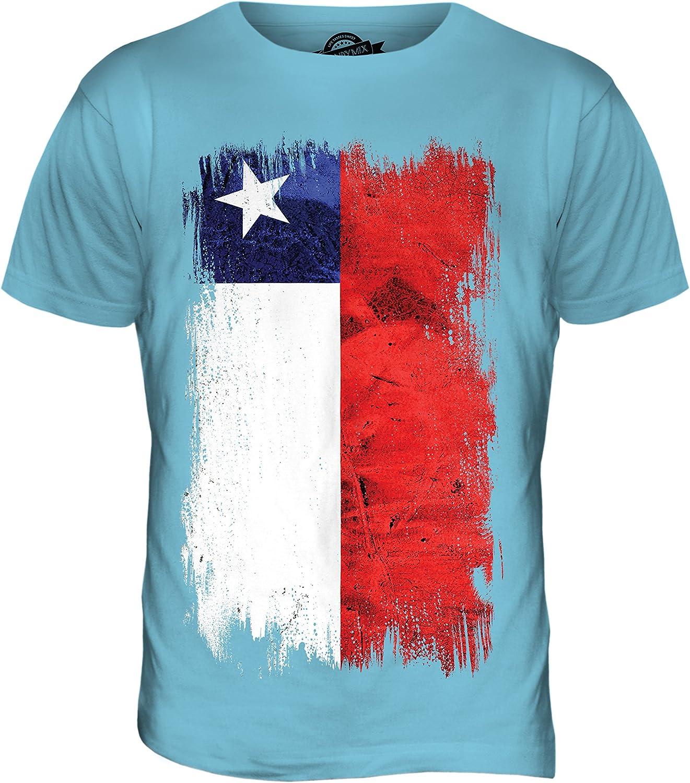 Chile de la Bandera de Grunge - para Hombre T-Camiseta de Manga Corta en la Parte Superior y: Amazon.es: Ropa y accesorios