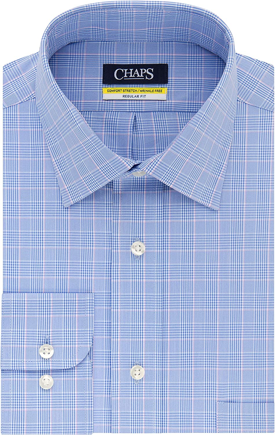 Chaps Mens Dress Shirt Regular Fit Stretch Collar Plaid, Blue ...