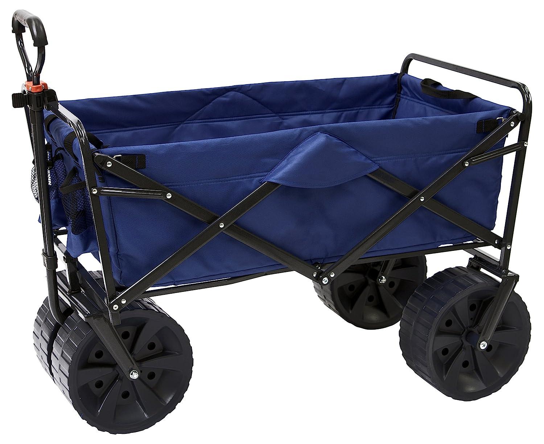 Mac Sports Heavy Duty Collapsible Folding All Terrain Utility Beach Wagon Cart, Blue/Black