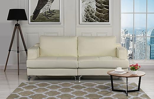 Ultra Modern Plush Leather Living Room Sofa (Beige)
