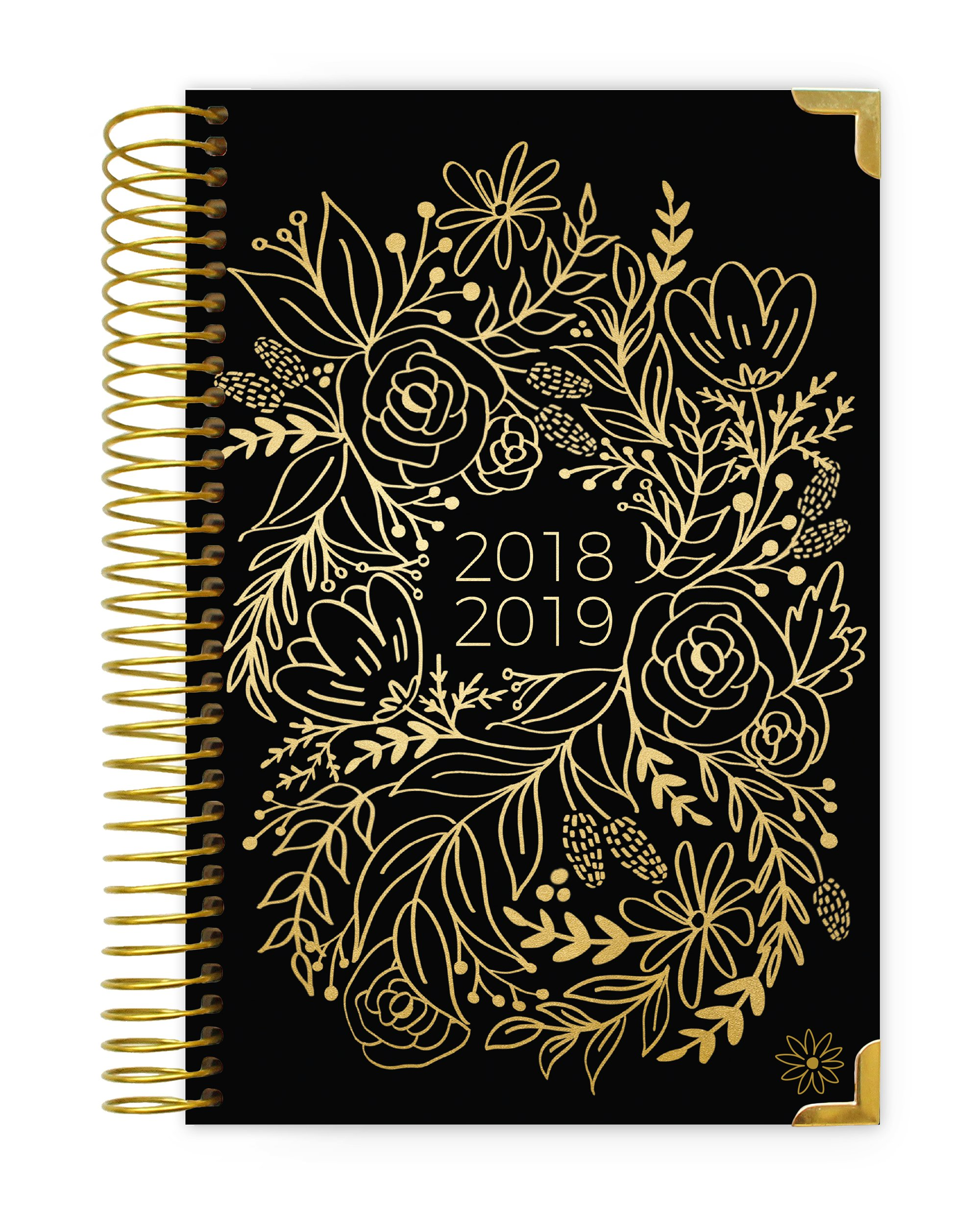 bloom daily planners 2018-2019 Academic Year Hard Cover Daily Planner - Monthly/Weekly Calendar Book - Inspirational Dated Agenda Organizer - (August 2018 - July 2019) - 6'' x 8.25'' - Gold Embroidery