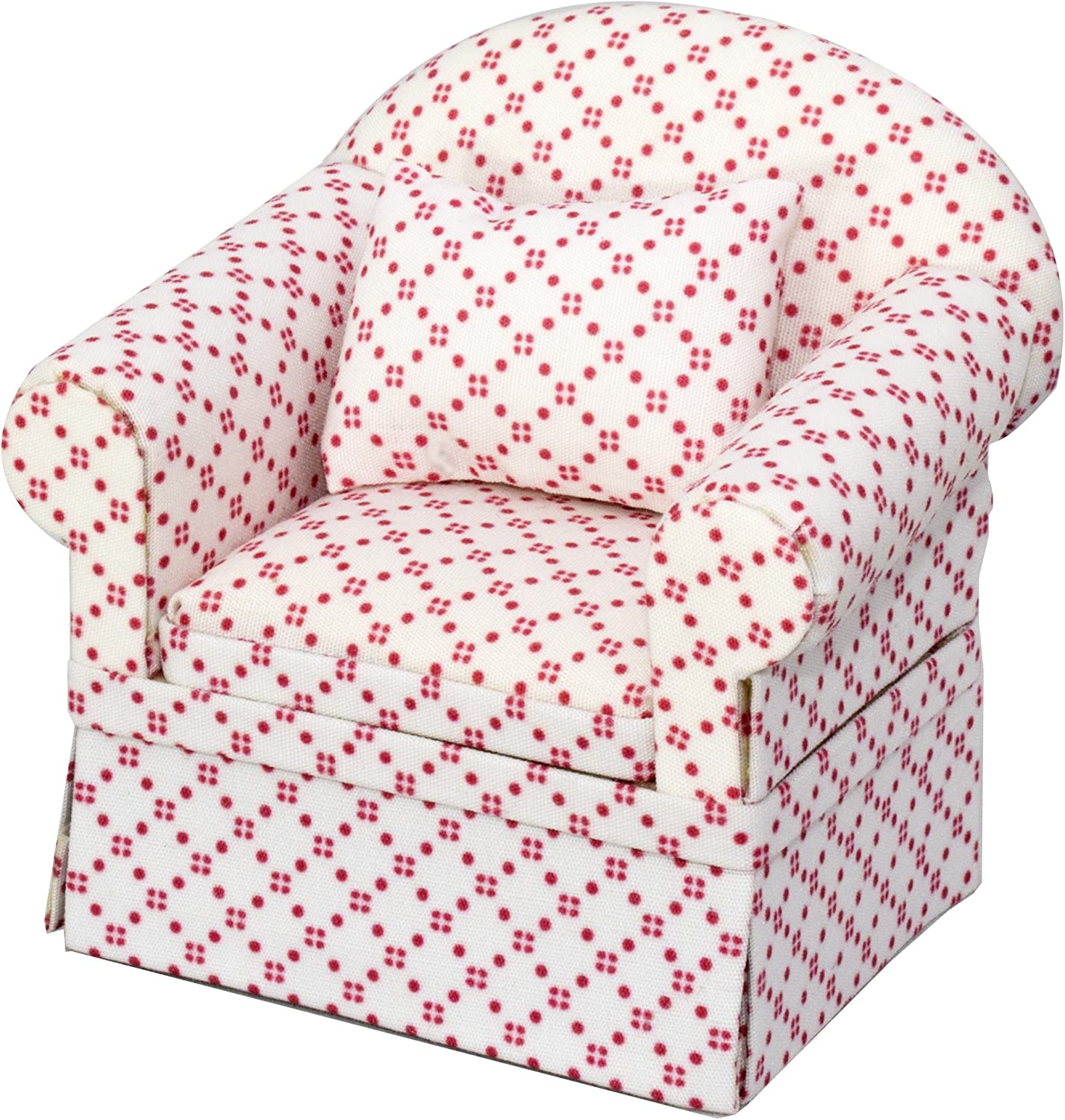 Inusitus Miniature Dollhouse Sofa Arm Chair - Dolls House Furniture Couch - White with Red Pattern - 1/12 Scale (White Red Dots)