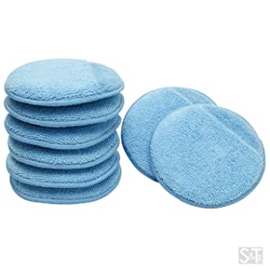 Viking Car Care 426201 Blue 8 Microfiber Applicator Pads with Finger Pockets, 8 Pack