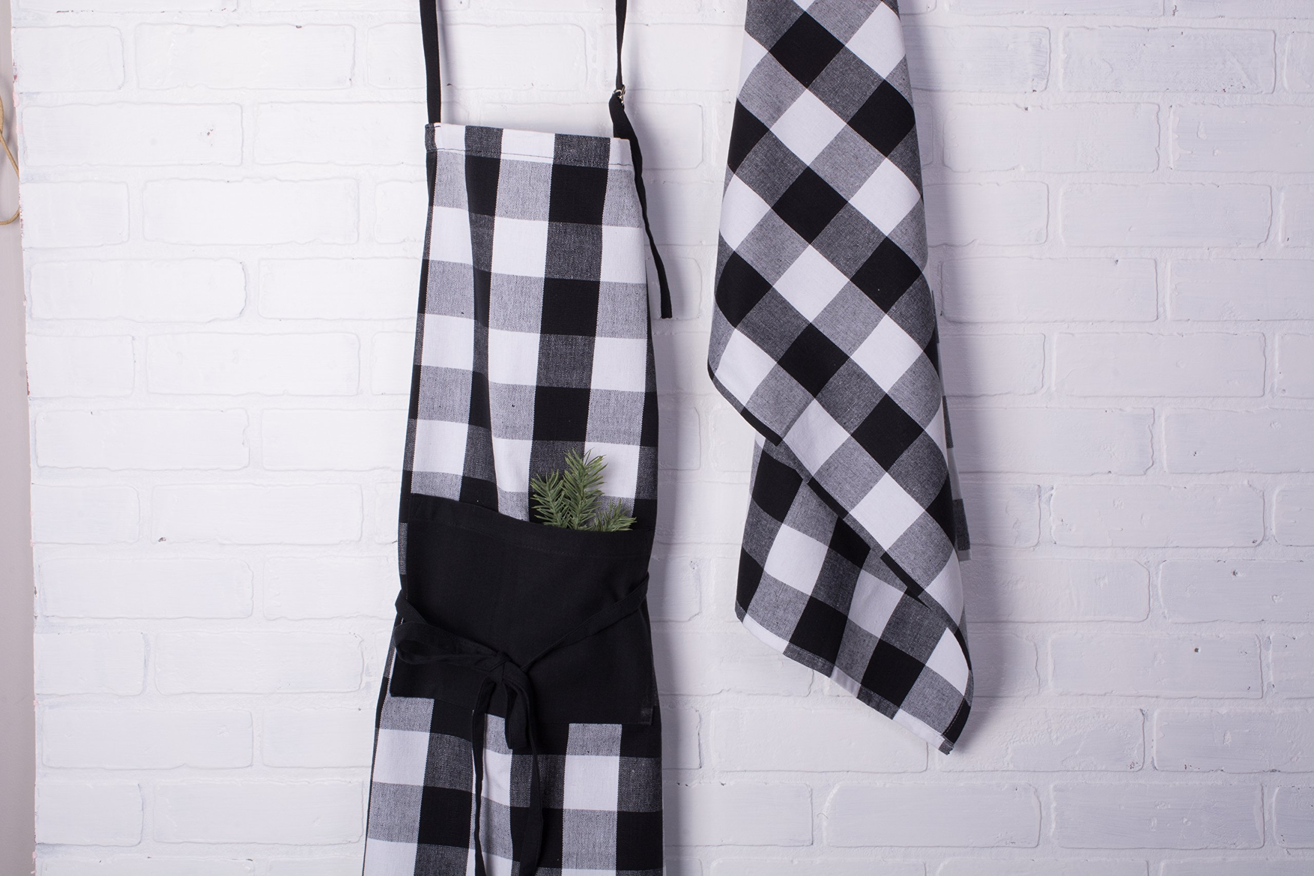 DII Cotton Buffalo Check Plaid Dish Towels, (20x30, Set of 3) Monogrammable Oversized Kitchen Towels for Drying, Cleaning, Cooking, Baking - Black & White by DII (Image #5)