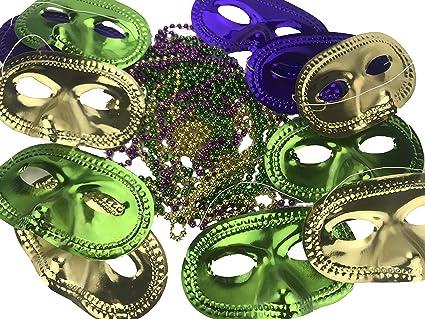 a67851ca6f185 Amazon.com: HRC Mardi Gras Masquerade Mask and Beads Set of 12: Toys ...