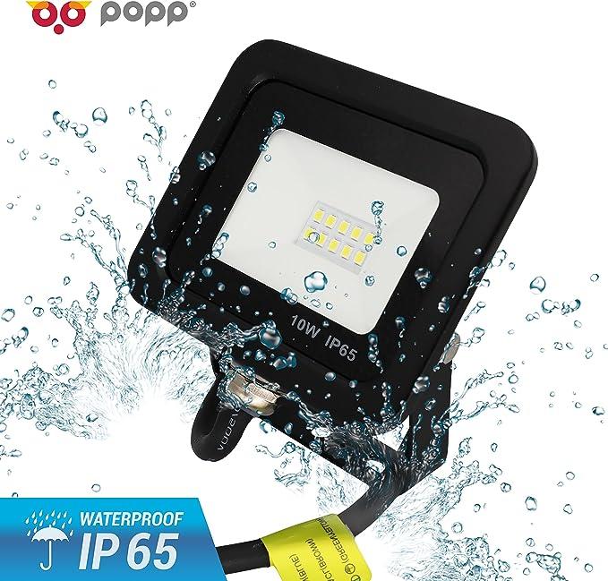 Popp PACK 2 Floodlight Led Foco Proyector Led 10w para Exterior Iluminación Decoración 6000k luz fria Impermeable IP65 Negro (10): Amazon.es: Iluminación