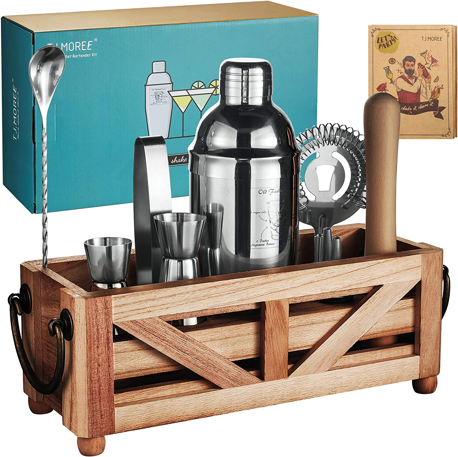 TJ.MOREE Bartender Kit with Stand 11-piece Cocktail Set with Rustic Tray for Mixed Drinks, Home Bar Decor Wooden Muddler 25 Ounce Cocktail Shaker Bar Tool Housewarming Gift Bartender Tools with Handle