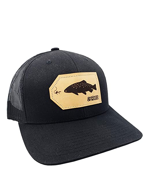 2455e6c4de Amazon.com   Hooked   Tagged Snapback Trucker Hat - Trout Patch - Black    Sports   Outdoors