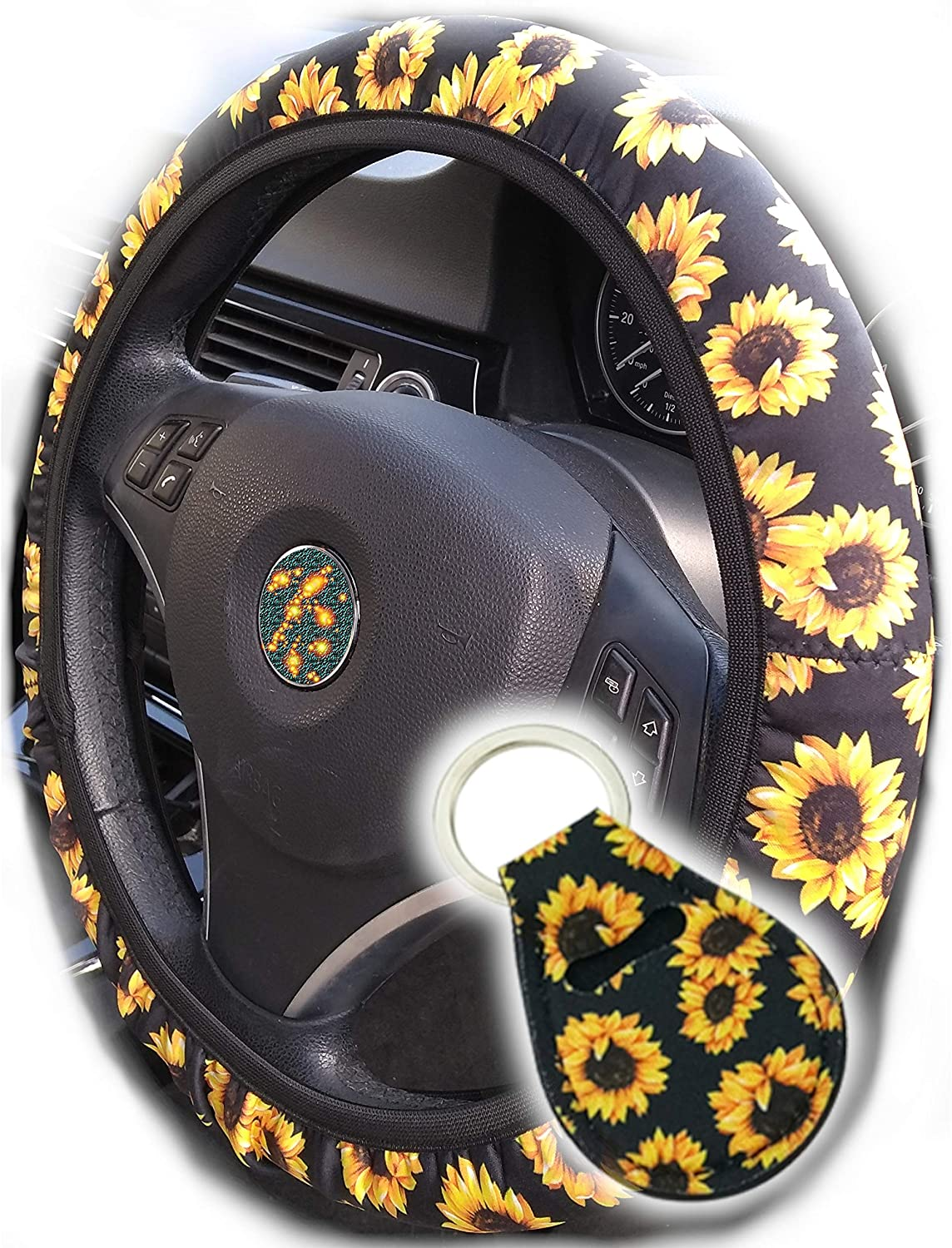 The Most Comfy Durable Sunflower Steering Wheel Cover for Women with Cute Sunflowers Quarter Keyring, Toppers Sunflower Car Accessories for Women ...