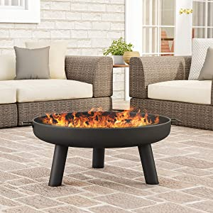 "Pure Garden 50-LG1200 Raised Steel Bowl for Above Ground Wood Burning 27.5"" Outdoor Fire Pit, Black"