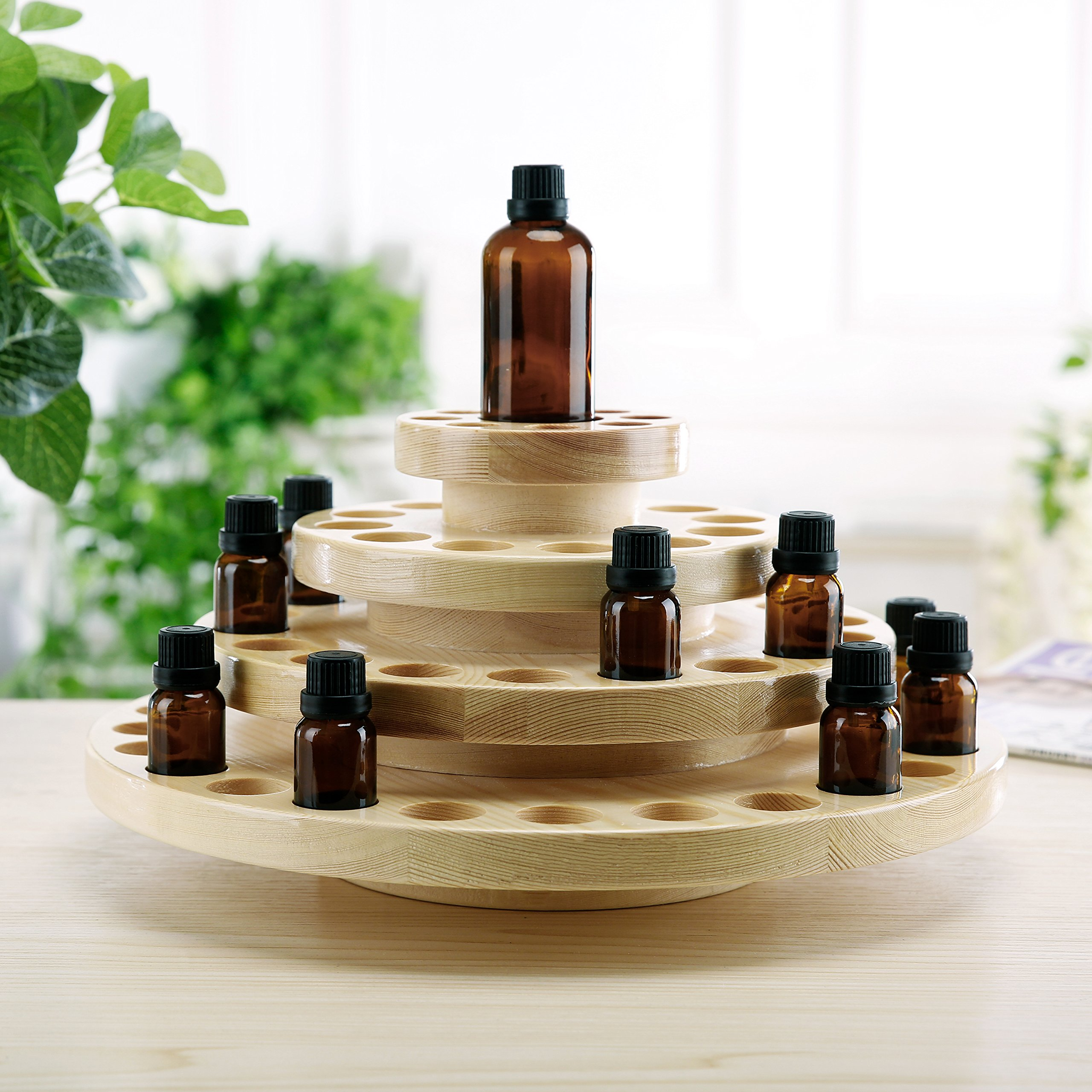 4 Tier Natural Wood Round Rotating Essential Oil Bottles Storage Display Rack by MyGift (Image #3)