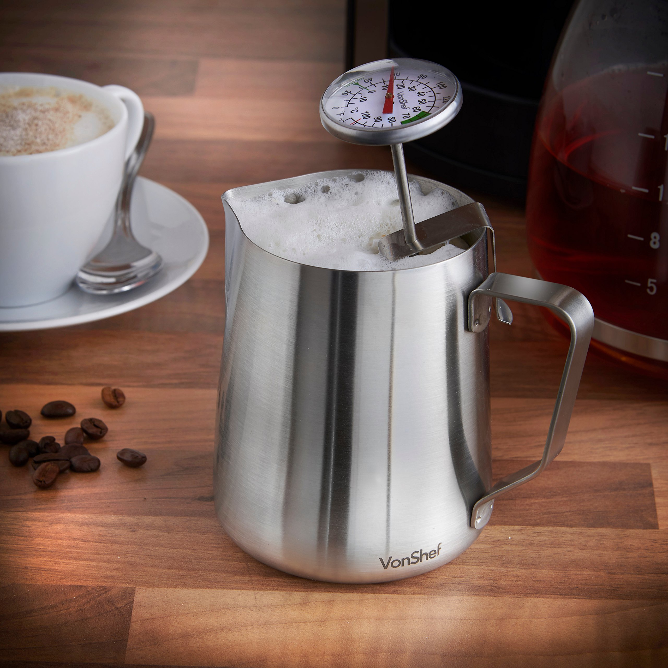 VonShef 12 Ounce Milk Frothing Pitcher Jug, Stainless