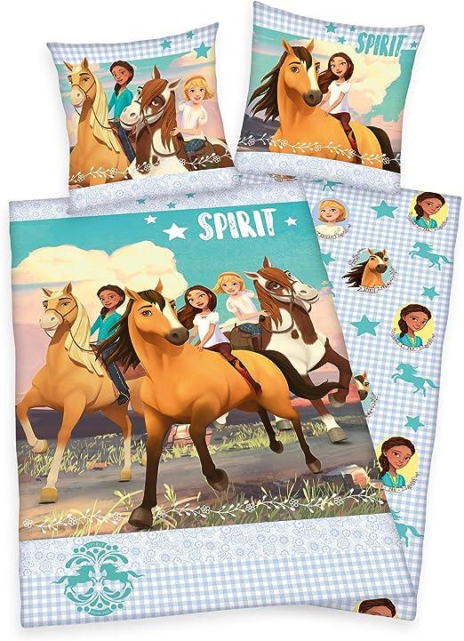 Klaus Herding GmbH Spirit - Juego de funda nórdica y funda de almohada (135 x 200 y 80 x 80 cm, 100% algodón), diseño de caballo: Amazon.es: Hogar
