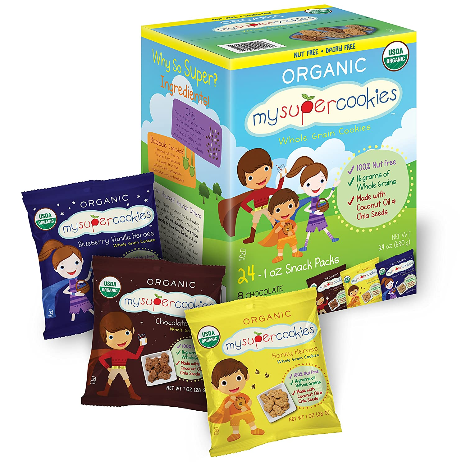 MySuperCookies Organic Whole Grain, Healthy Snacks for Kids — 24 Snack Packs, Peanut & Tree Nut Free, Kosher/Perfect for Valentine's Day, Class Parties and Birthdays