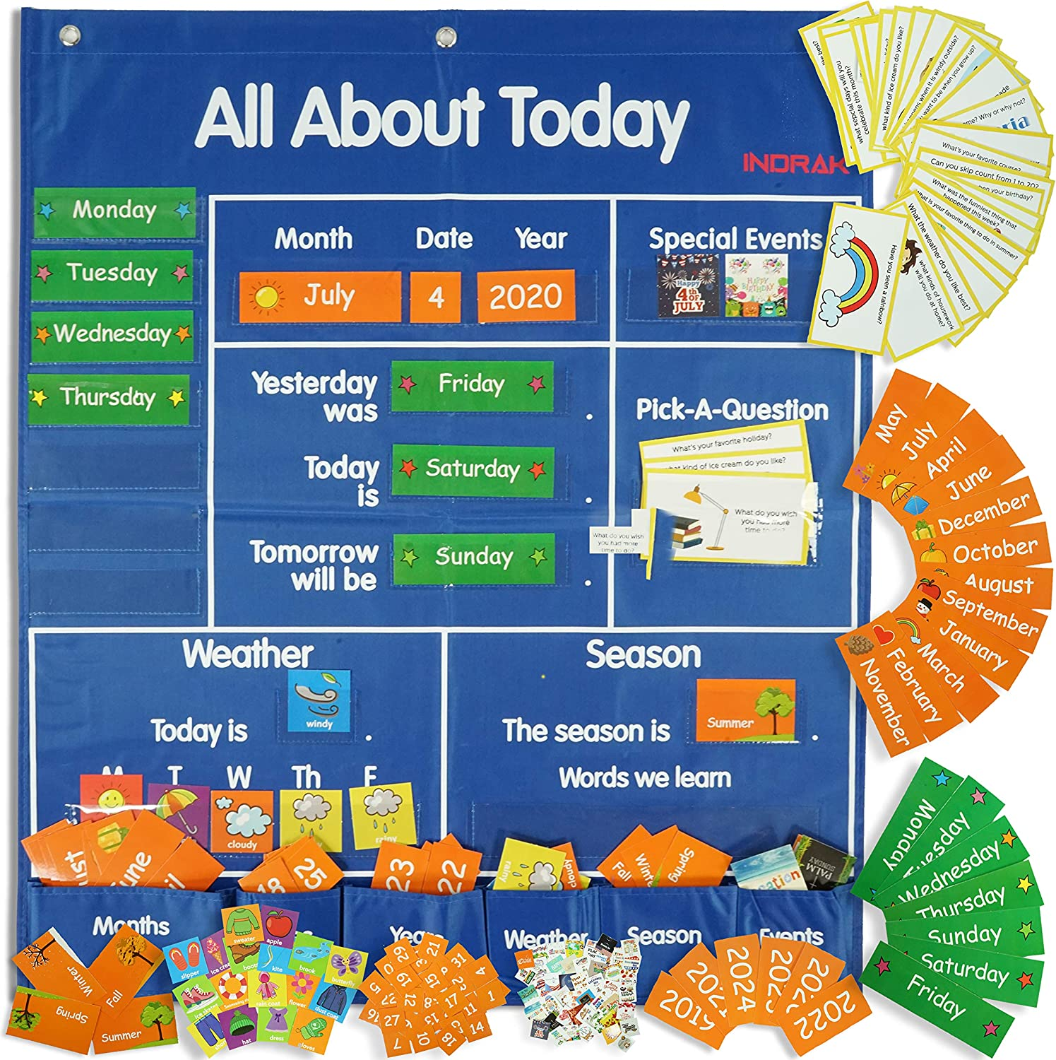192 Piece for classroom pocket chart with Daily School Calendar and Weather Pocket chart of Learning Resource for All about Today Activity Center, Morning Meeting with Space Saver Pocket Charts