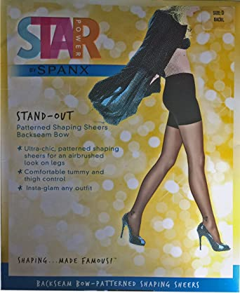 a3d69a6d56a Star Power by Spanx Stand-Out Patterened Shaping Sheers Backseam Bow A Black