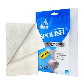 Ner Mitzvah Polaco de plata paños reutilizables 6 Toallitas brillo instantáneo, rápido Deslustre removedor para la joyería, platería, relojes y mas de 100% ...