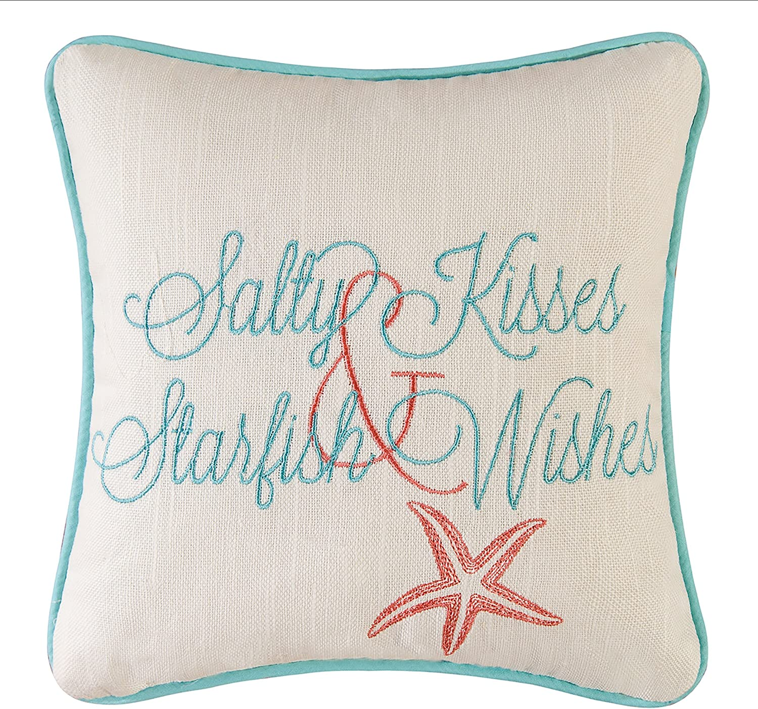 "C&F Home 10"" Embroidery Pillow, Salty Kisses Starfish"