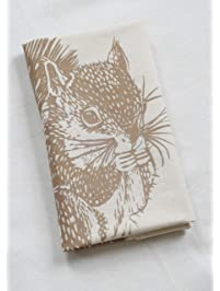 Tea Towel - Squirrel in Mocha Brown - Hand Printed - Organic Flour Sack Cotton