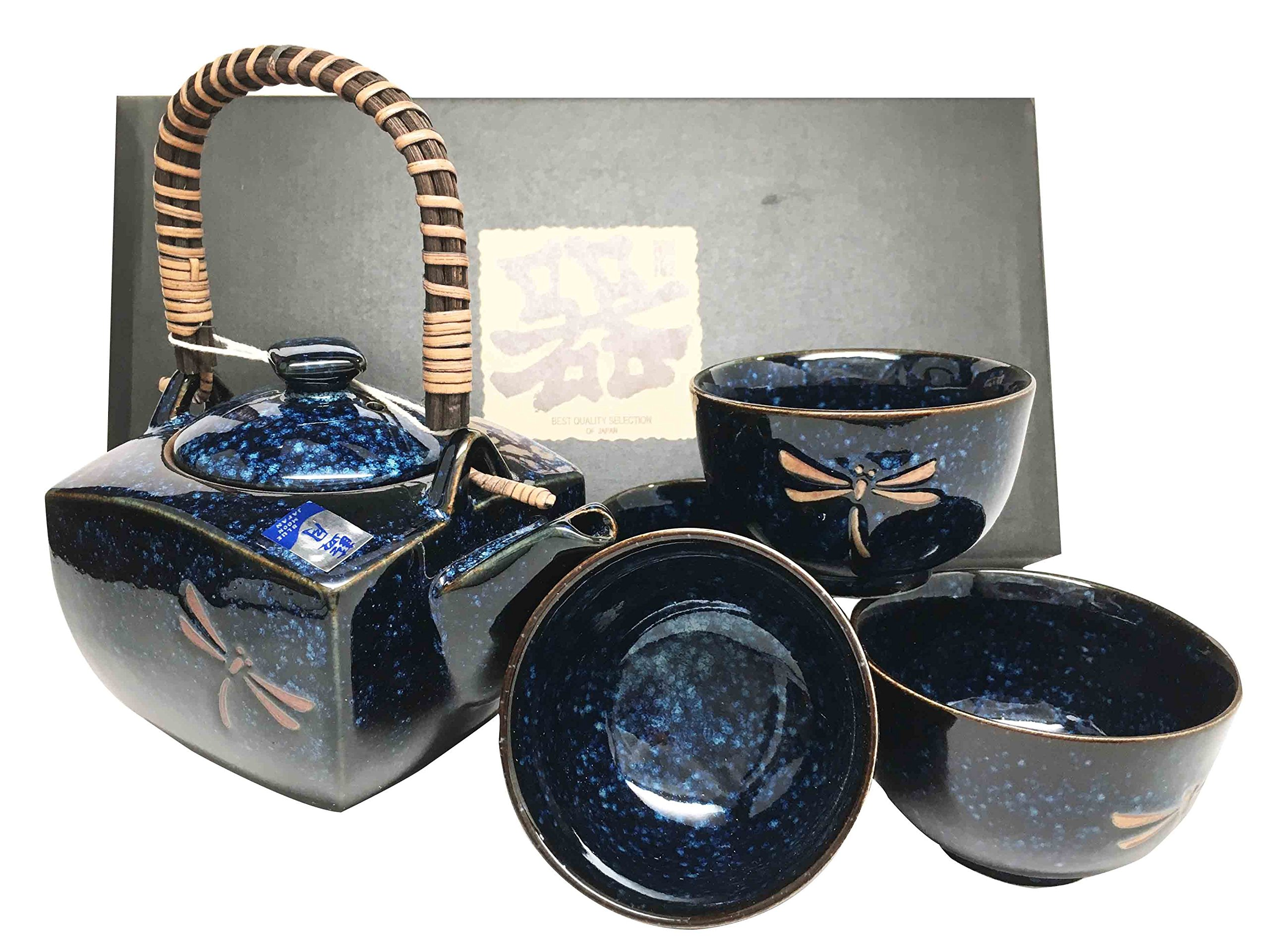 Made In Japan Tombo Dragonfly Blue Glazed Ceramic Tea Pot and Cups Set Serves 4 Beautifully Packaged in Gift Box Excellent Home Decor Asian Living Gift for Sophisticated Moms And Housewarming