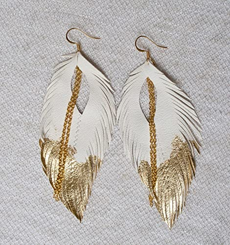 Gold-tip Feather Earrings