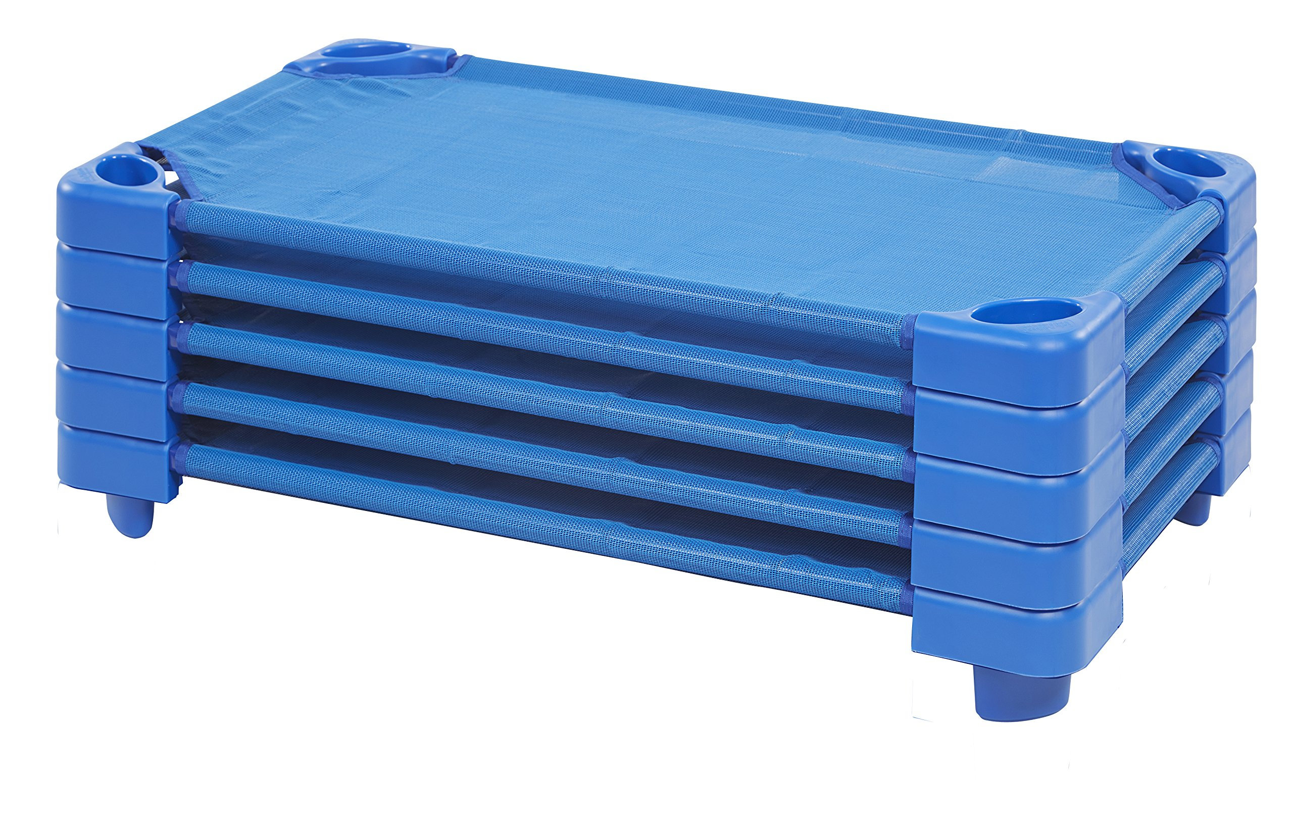 ECR4Kids Toddler Naptime Cot, Stackable Daycare Sleeping Cot for Kids, 40'' L x 23'' W, Ready-to-Assemble, Blue (Set of 6)