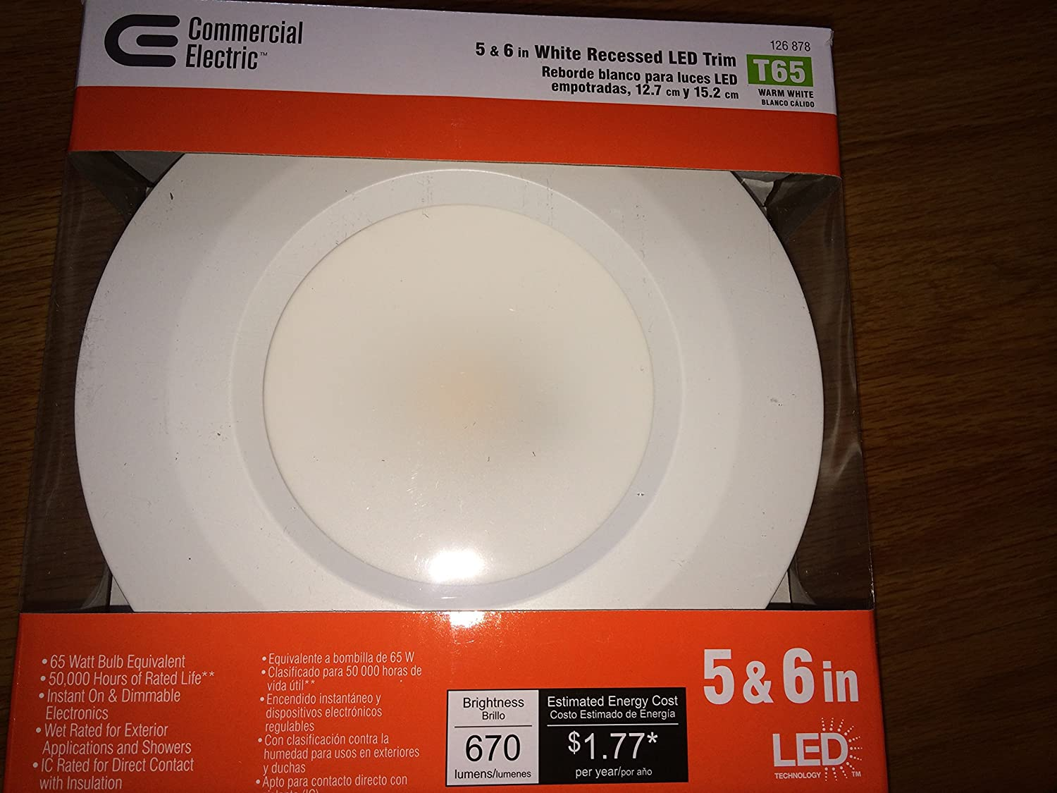New commercial electric t65 model cer6730awh27 5 in and 6 in new commercial electric t65 model cer6730awh27 5 in and 6 in white recessed led trim 90 cri 2700k amazon aloadofball Image collections